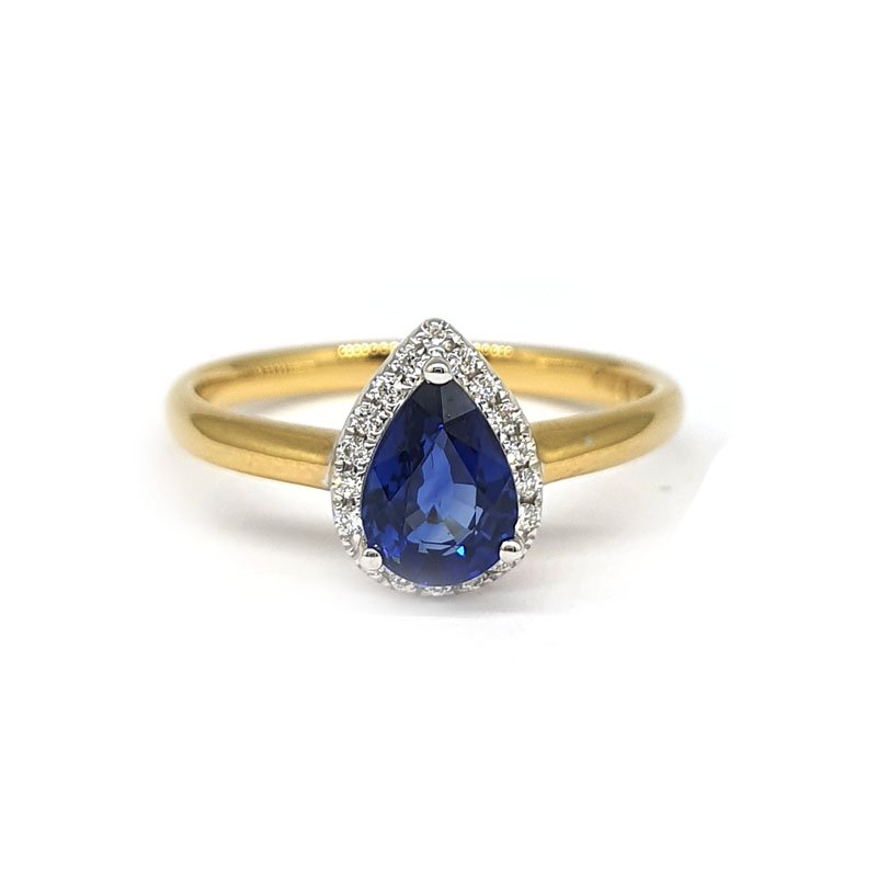 0.95ct Pear Sapphire and Diamond Engagement Ring £1410.00