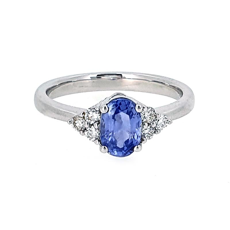 18ct White Gold Oval Sapphire & Diamond Ring £2250.00