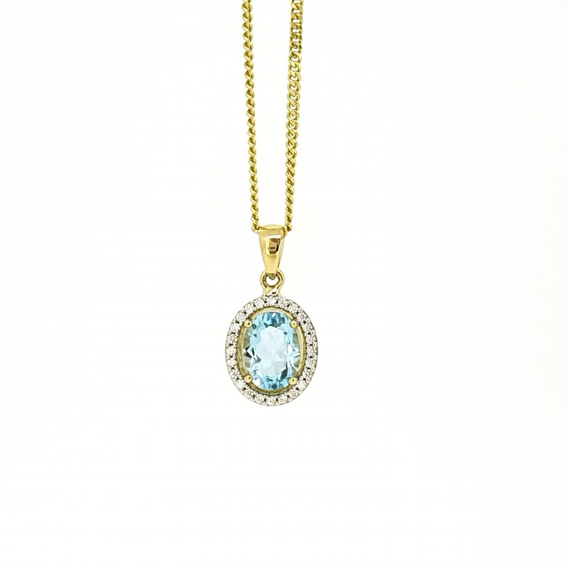 9ct Diamond & Sky Blue Topaz Necklace