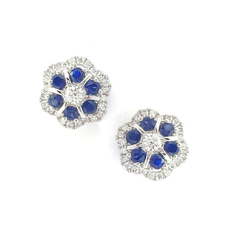 18ct White Gold Diamond & Sapphire Studs £1875.00
