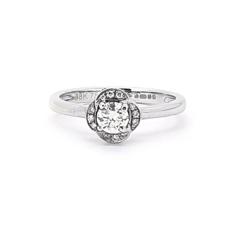 18ct White Gold 0.32ct Diamond Flower Ring £2175.00