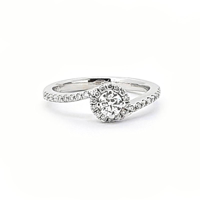 18ct White Gold 0.21ct Diamond Twist Halo Ring £2055.00