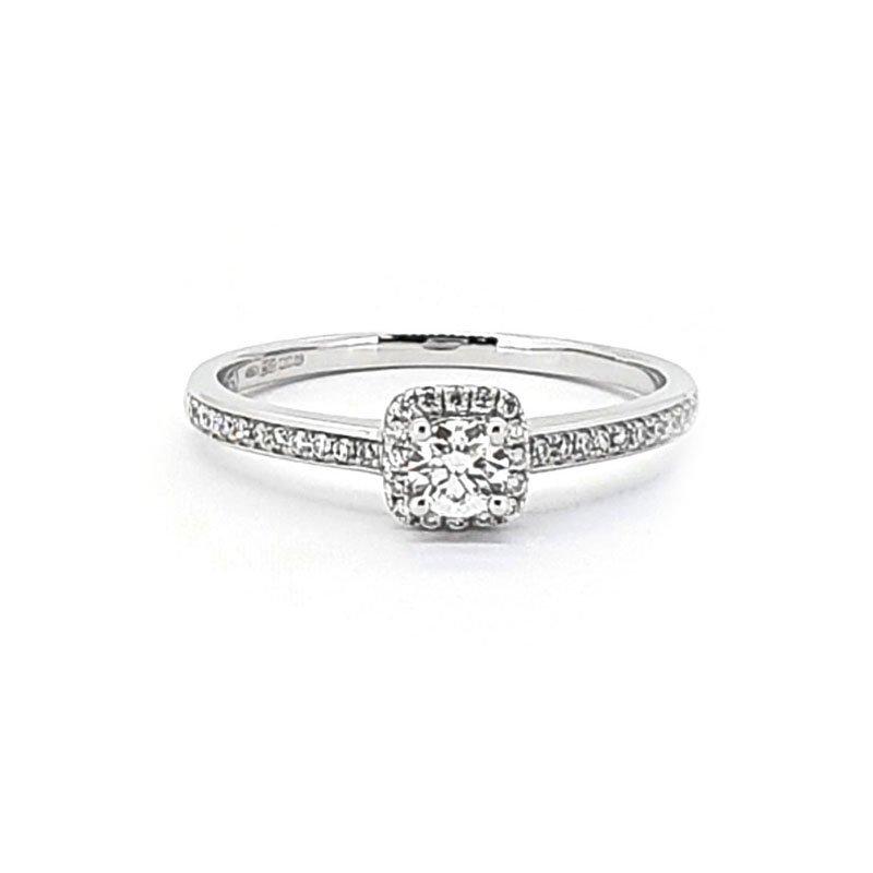 18ct White Gold 0.28ct Diamond Halo Ring £1218.00