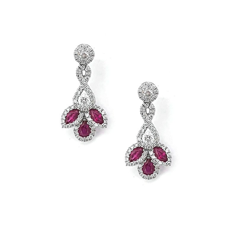 18ct White Gold Ruby & Diamond Earrings £2375.00