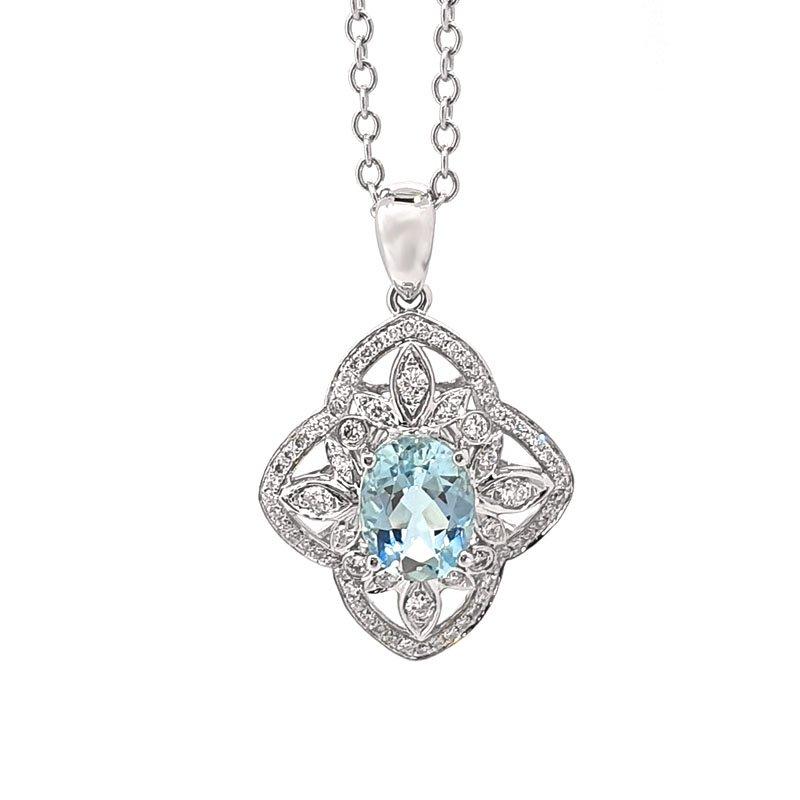 18ct White Gold Aqua & Diamond Pendant £1400.00