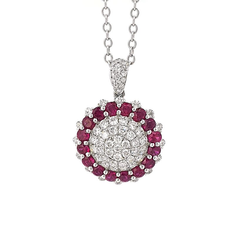 18ct White Gold Ruby & Diamond Pendant £2613.00