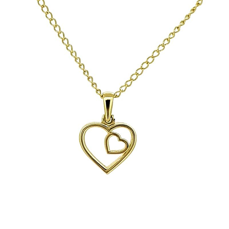 9ct Yellow Gold Double Heart Necklace