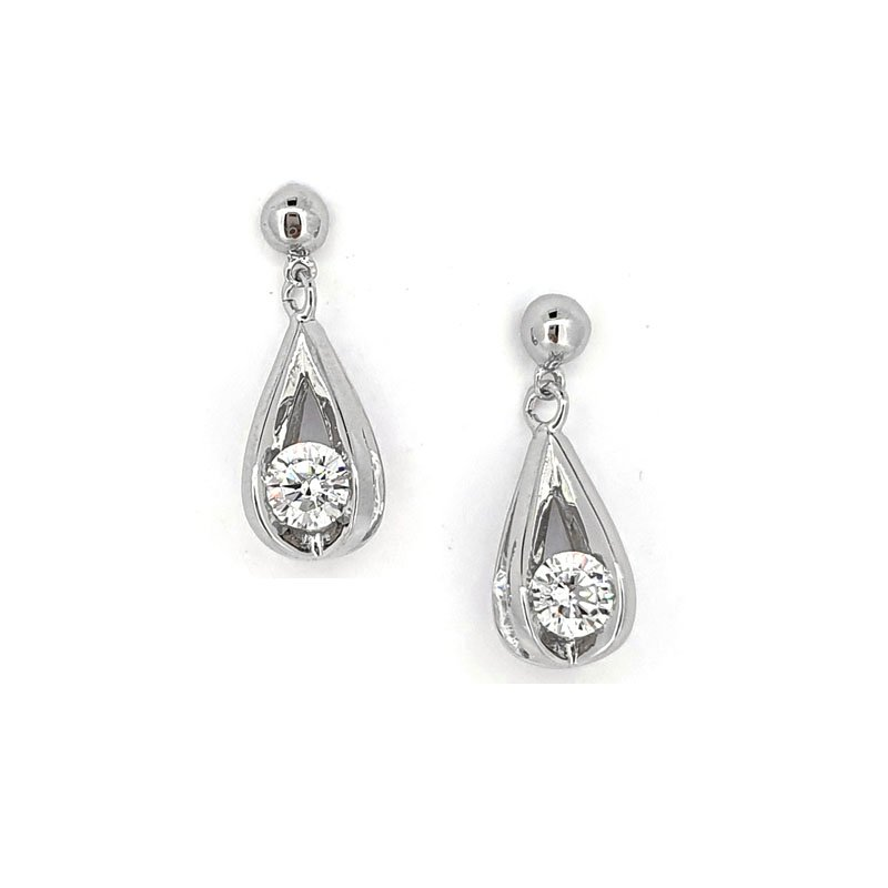 Silver and Cubic Zirconia Bird Cage Studs £86.00