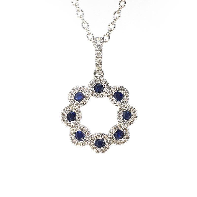 18ct Sapphire & Diamond Wreath Necklace £1590.00