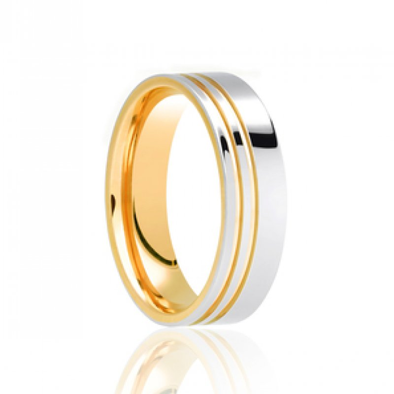Bi- Colour Wedding Band 3