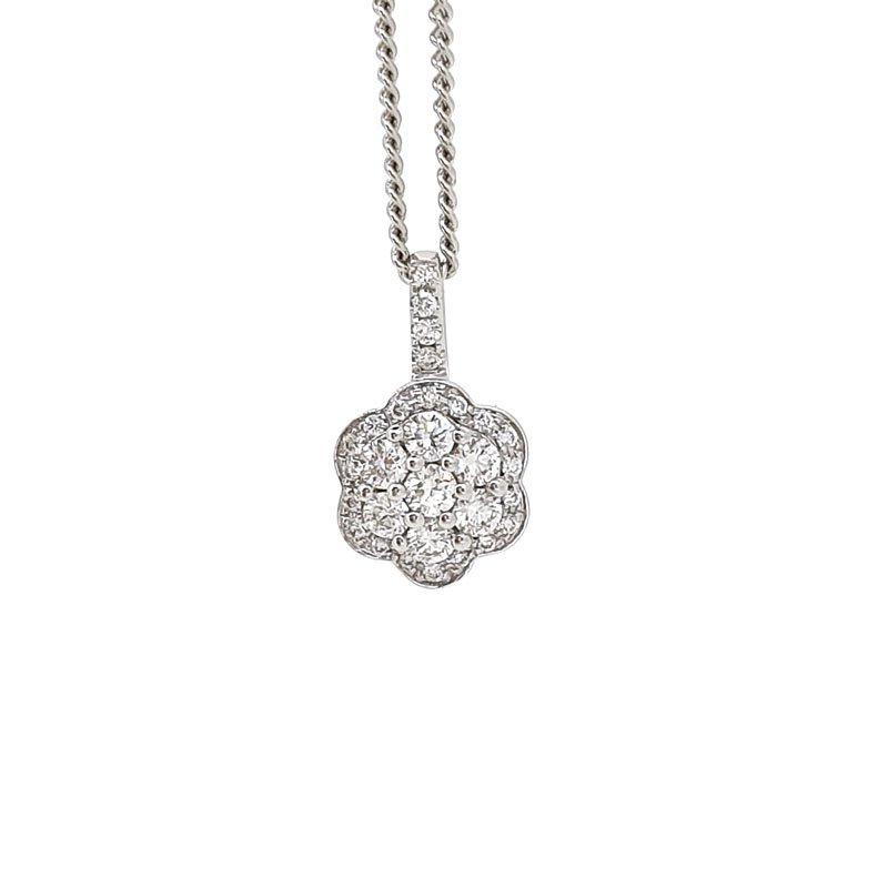 18ct Diamond Flower Cluster Pendant