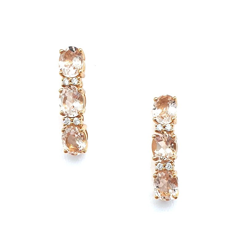 18CT Rose Gold Diamond and Morganite Drop Earrings £900.00