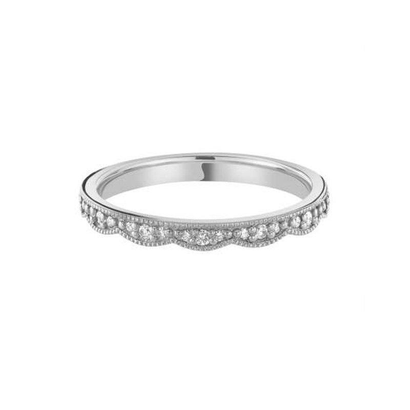 0.14ct Diamond Set Shaped Wedding Ring B
