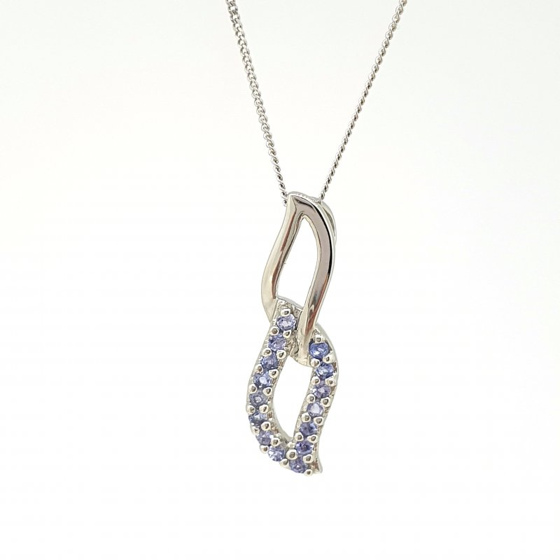 9CT White Gold Double Leaf Tanzanite Necklace £195.00