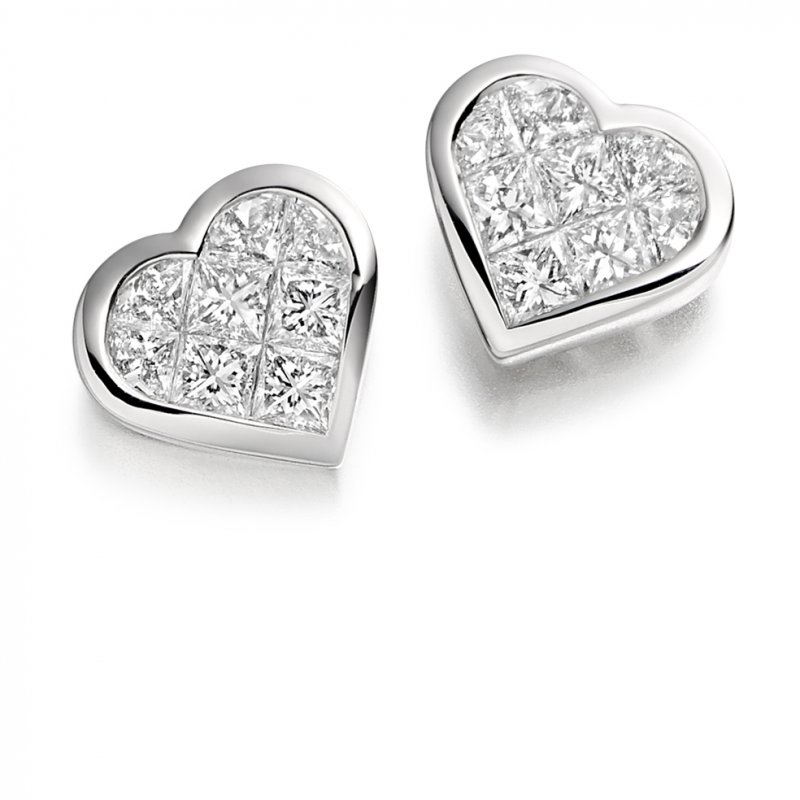 1.00ct Diamond Heart Earrings
