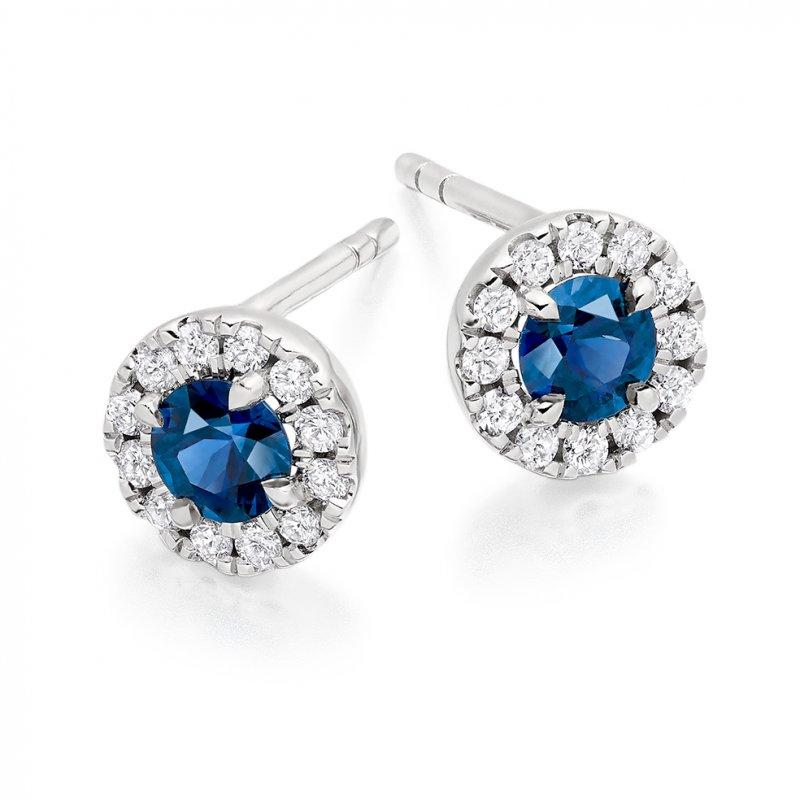 Blue Sapphire & Diamond Studs