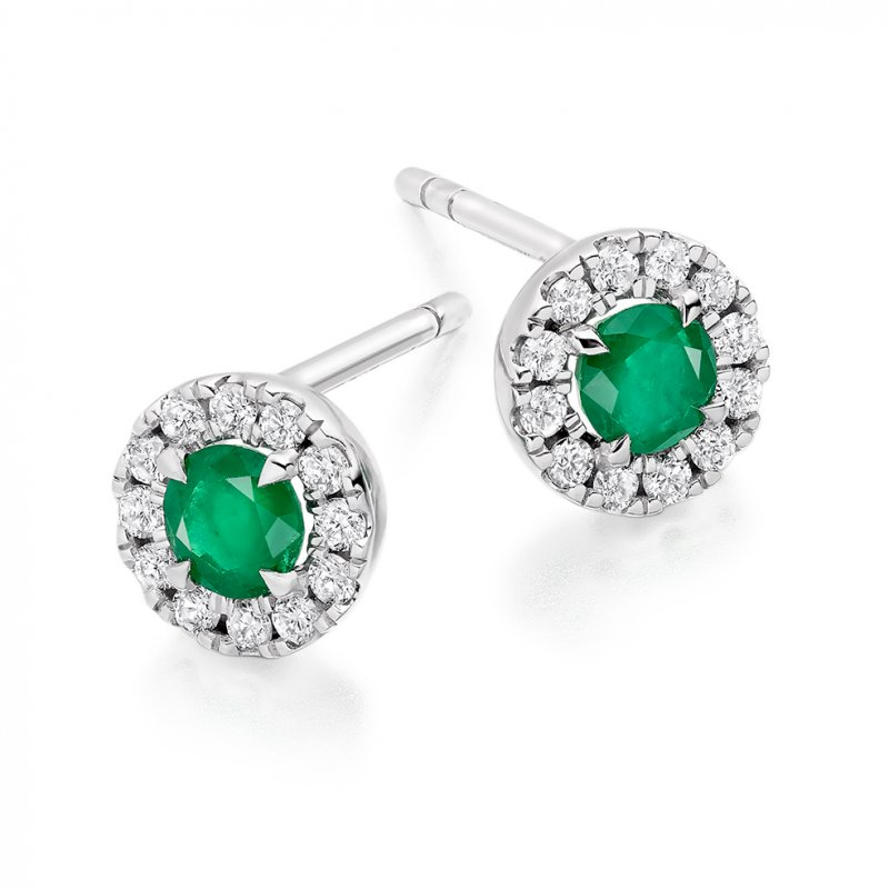 Emerald & Diamond Studs
