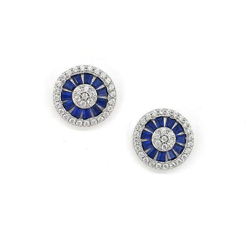 Round  Silver Studs With Blue & White Zirconia £46.00