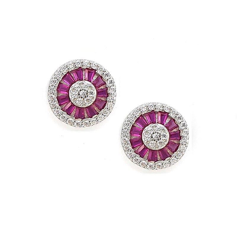 Round Silver Studs With Pink & White Zirconia £46.00