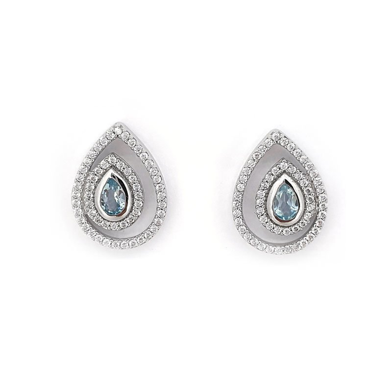925 Silver Blue & White Cubic Zirconia Studs £66.00