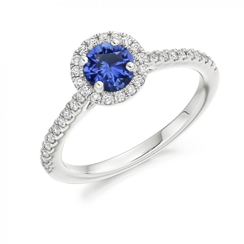Sapphire Halo Style Cluster