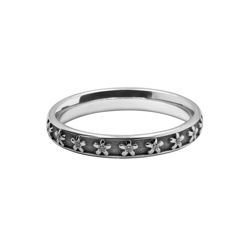 Ladies Patterned Laser Cut Diamond Set Band 1
