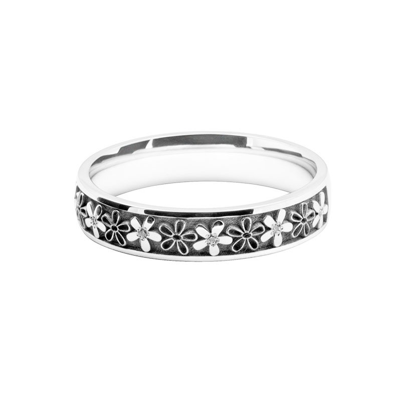 Ladies Patterned Laser Cut & Diamond Set Band 5