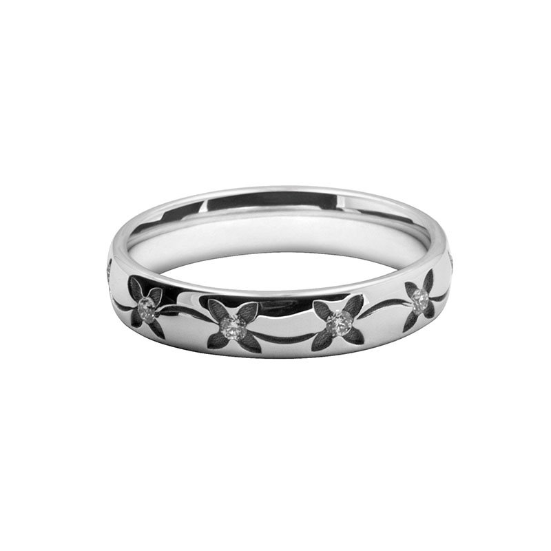 Ladies Patterned Laser Cut & Diamond Set Band 7