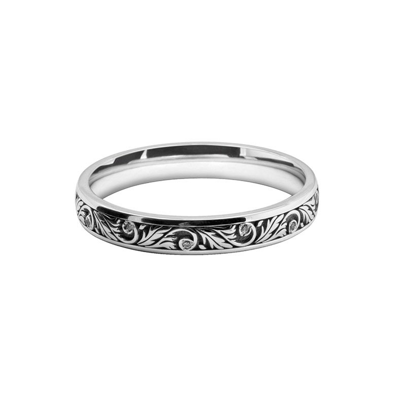 Ladies Patterned Laser Cut & Diamond Set Band 9