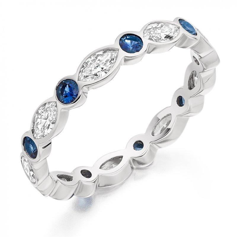 Blue Sapphire & Diamond Band 2