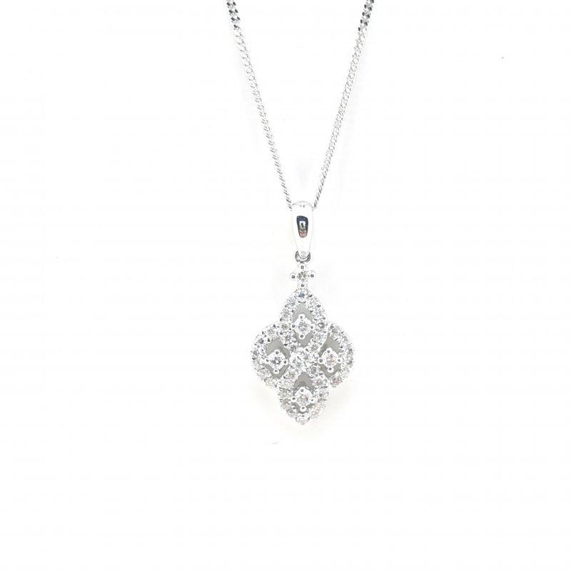 18ct Diamond Art Deco Style Necklace
