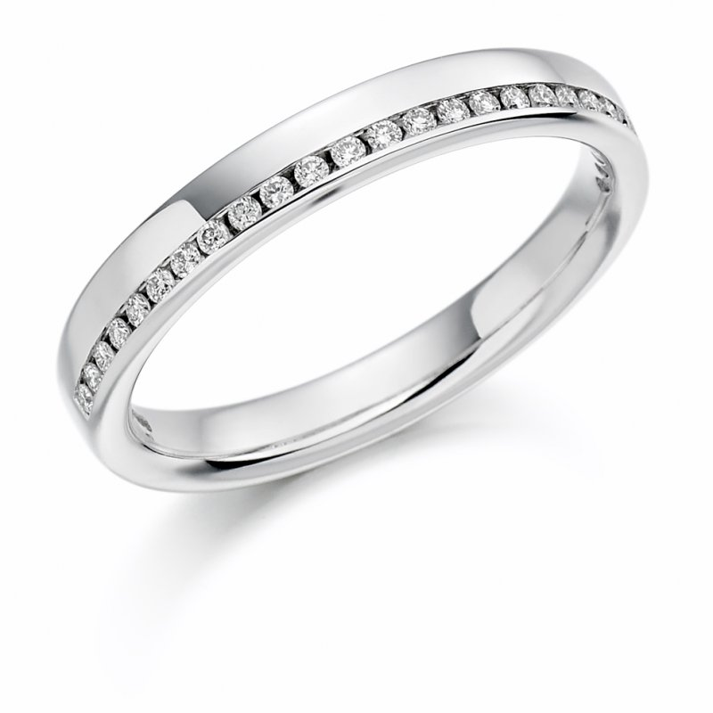0.12ct Offset Channel Diamond Band