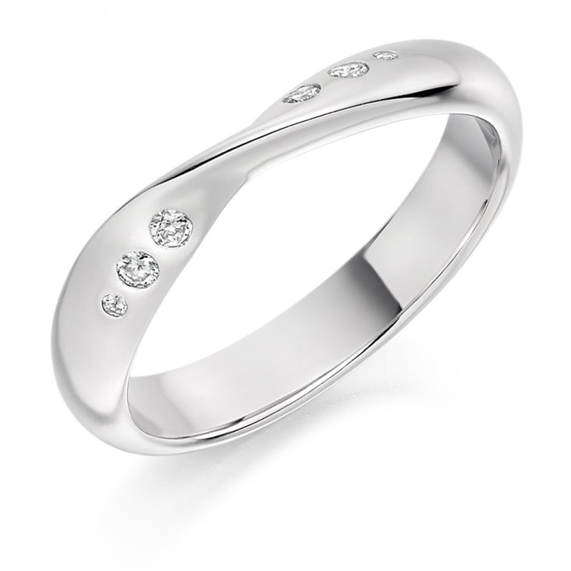 0.09ct Flush Set Shaped Diamond Band