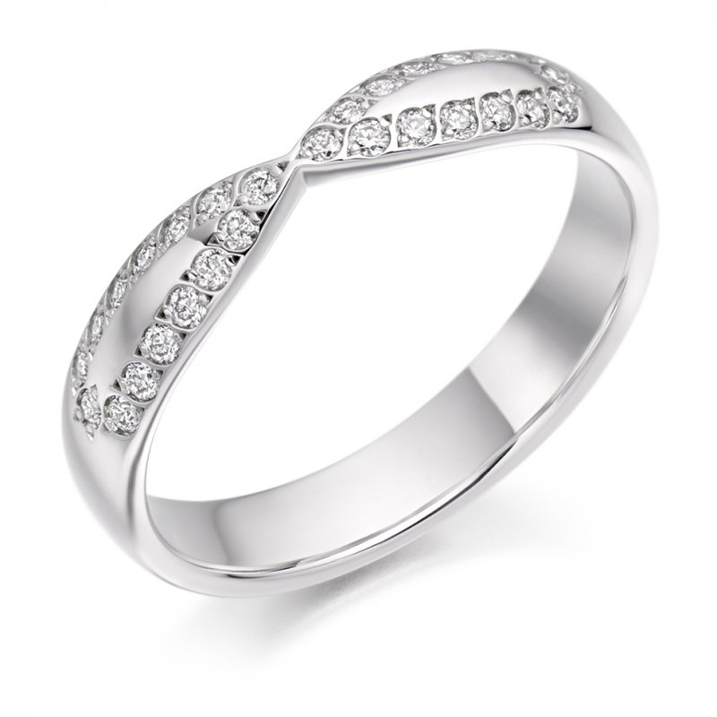 0.25ct Grain Set Cut-Out Diamond Band