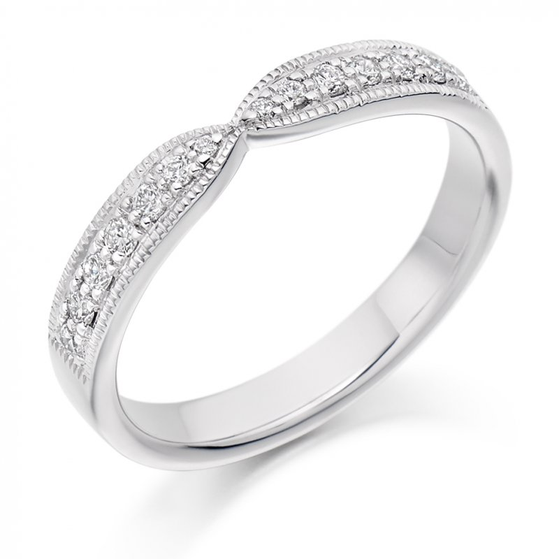 0.20ct Grain Set Shaped Diamond Band