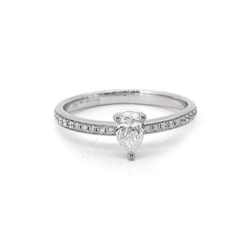 18ct White Gold 0.40ct Pear Diamond Ring £1854.00