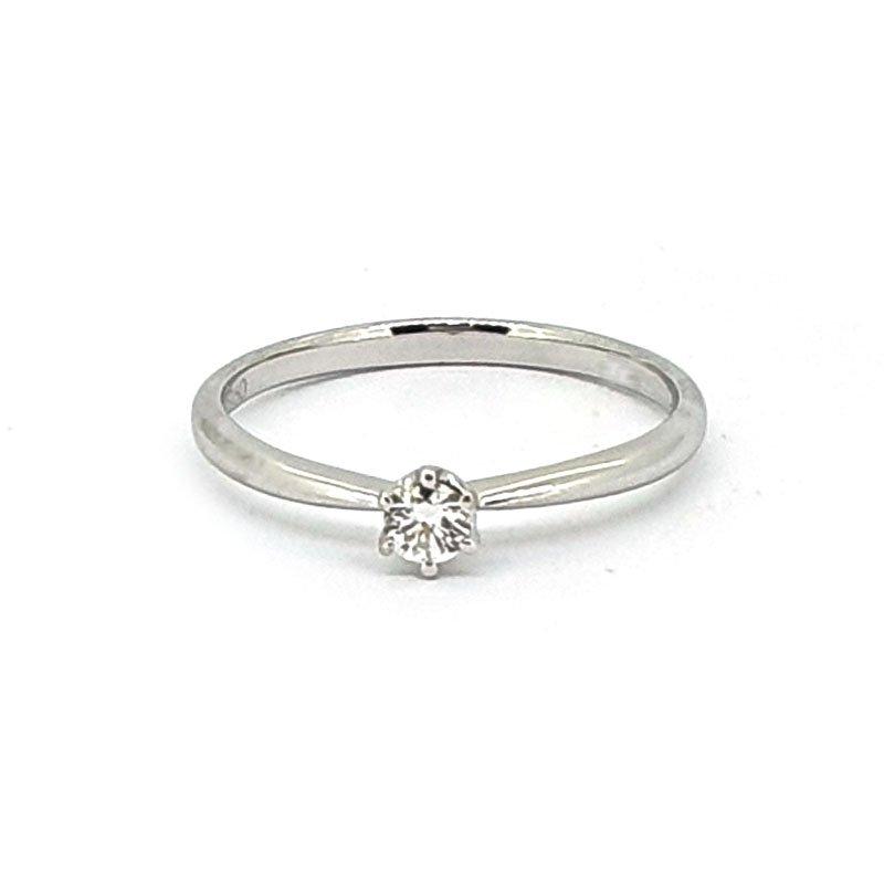 18ct White Gold 0.10ct Round Diamond Ring £624.00