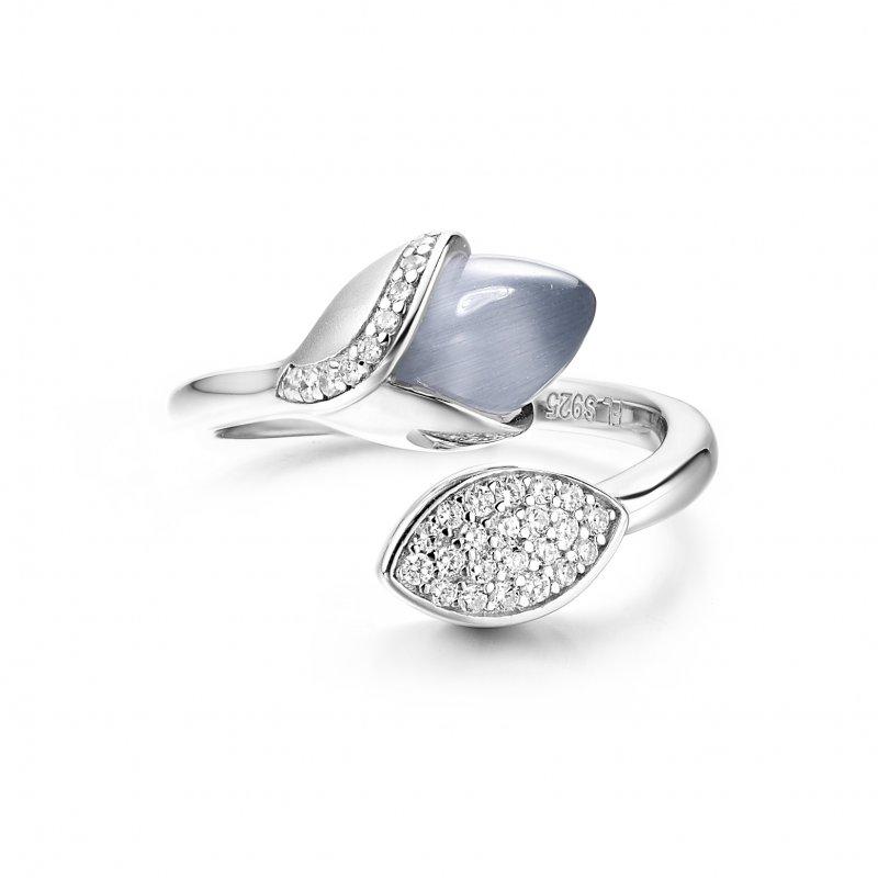 Magnolia Ring with Leaf Grey £130.00