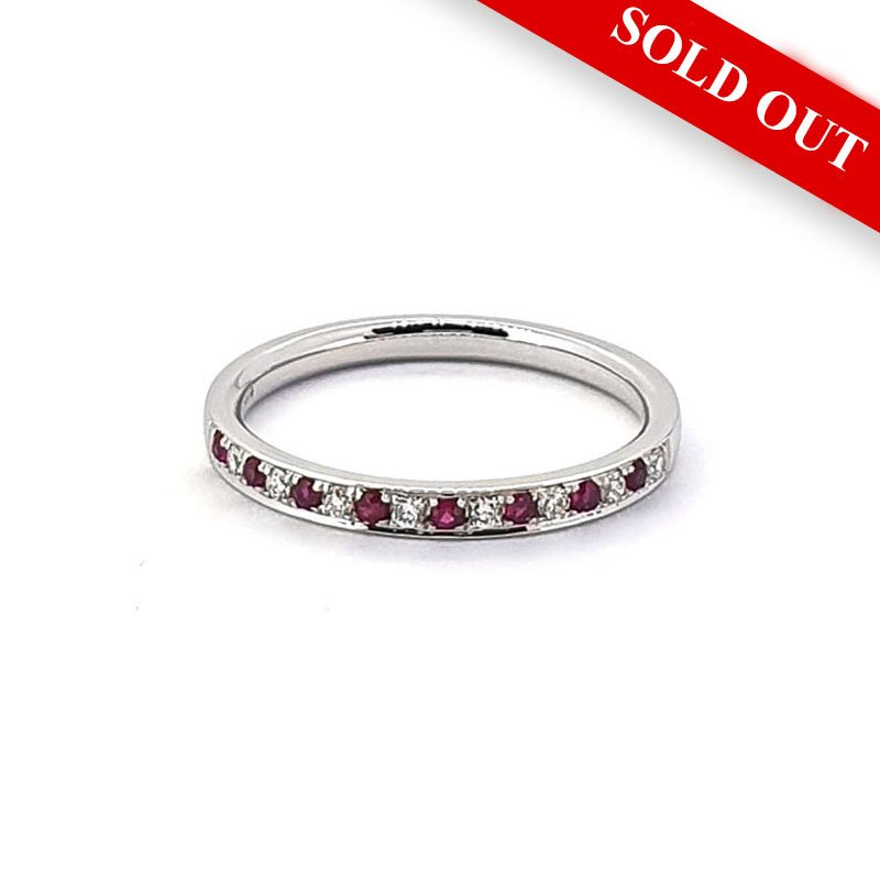 18ct White Gold Ruby & Diamond Eternity Ring £540.00