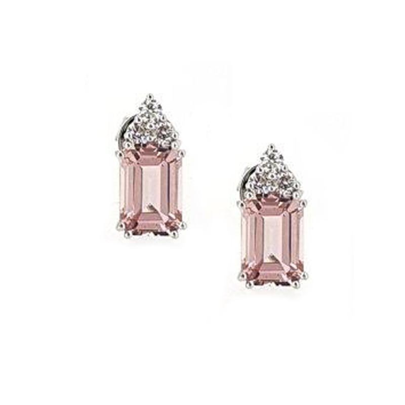 18ct White Gold Diamond & Morganite Studs