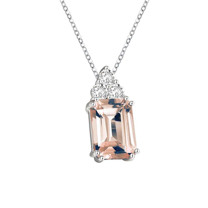18ct 0.82ct Morganite & Diamond Necklace £864.00