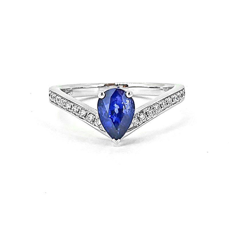 18ct White Gold Pear Sapphire & Diamond Ring