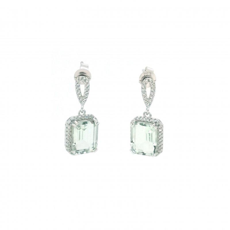 Emerald Cut Green Amethyst & CZ Ring £114.00