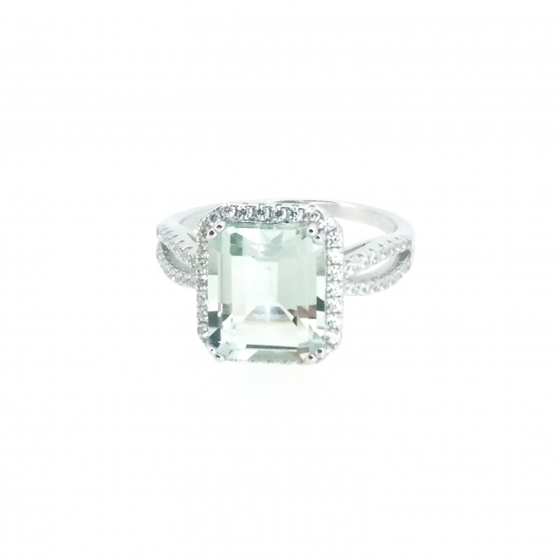 Emerald Cut Green Amethyst & CZ Ring