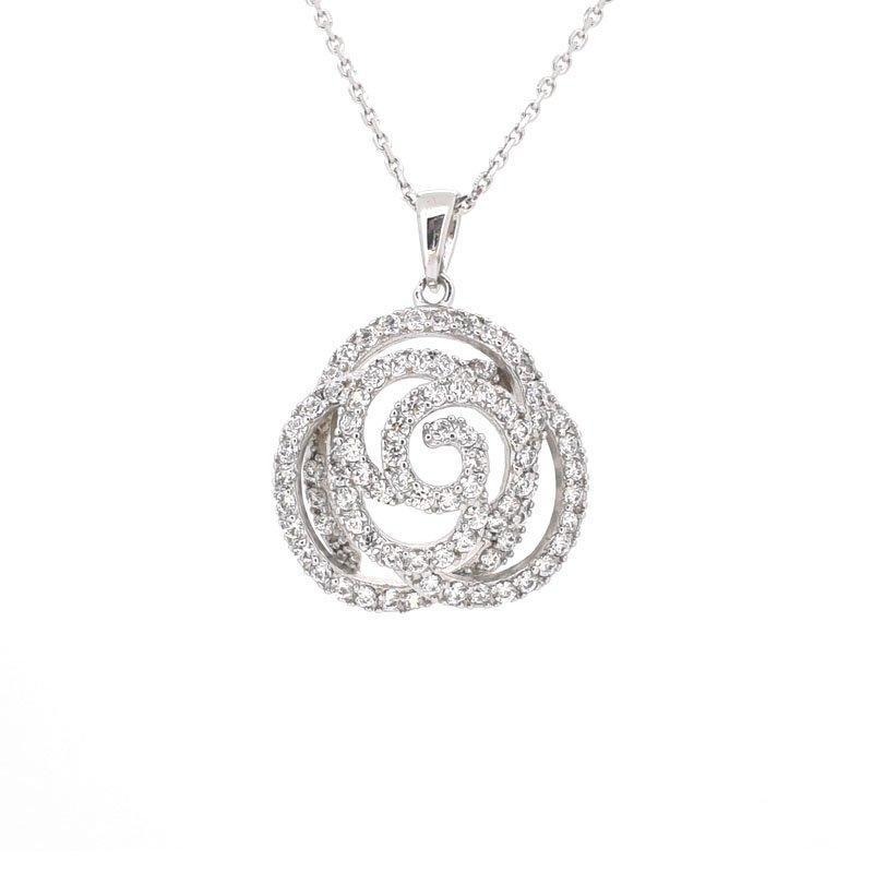 Large Silver & CZ Flower Pendant £109.00