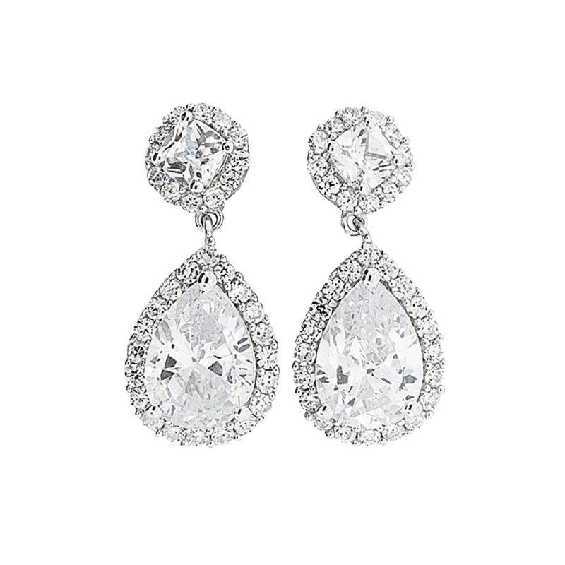 Silver Pear Halo Drop Earrings