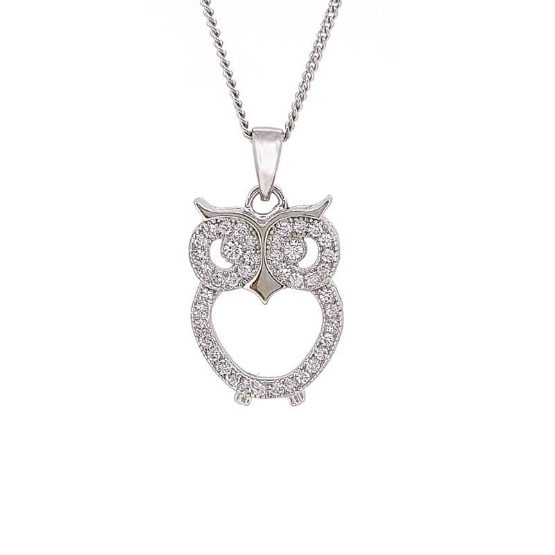 Silver and Cubic Zirconia Owl Necklace £35.00