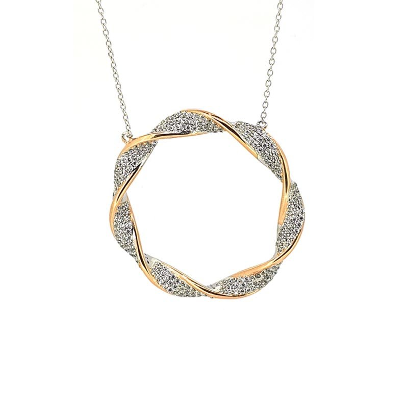 Large Silver Blush & CZ Twist Circle Pendant £122.00