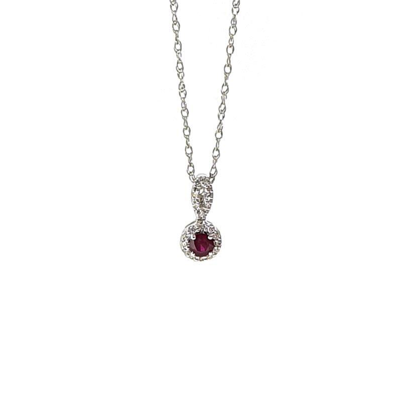 18ct White Gold Diamond & Ruby Necklace £350.00