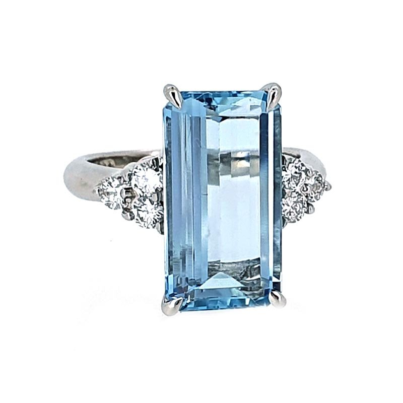 Platinum Aquamarine & Diamond Cocktail Ring